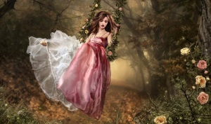 fairy-tale-girl-in-red-dress-in-forest-swing-and-flowers-preview